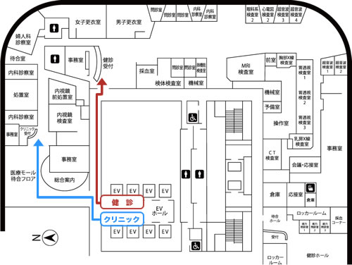 フェスティバルタワー地下1階から「フェスティバルタワー健診センター」までの順路